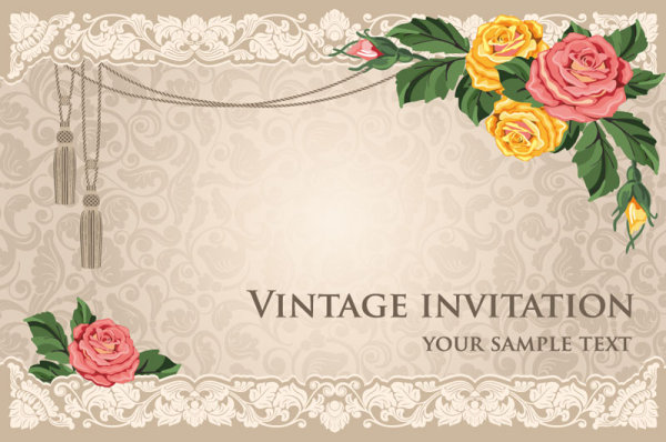 Vintage invitation cards background vector 01 Over millions