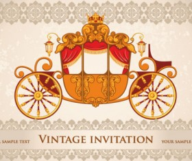vintage invitation cards background vector 02