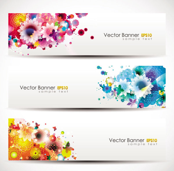 Colorful flowers vector banner - Vector Banner, Vector Flower free ...