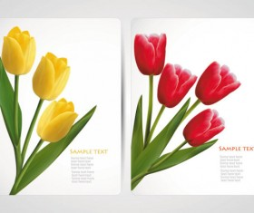 with Flowers cards vector template 05