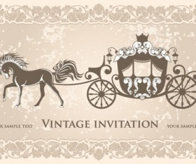 vintage invitation cards background vector 03
