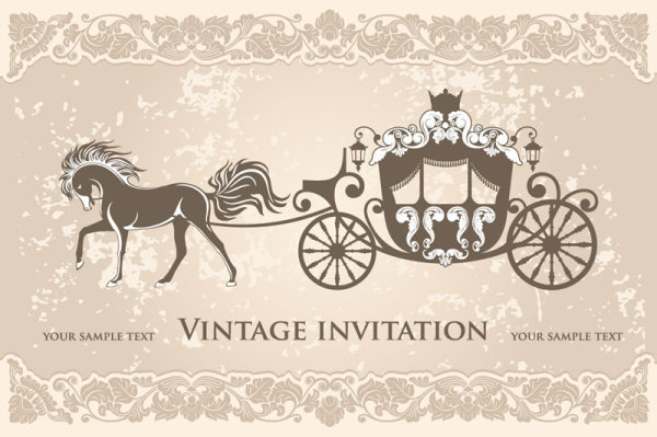 vintage invitation cards background vector 03 Vector Background – Vintage Invitation Cards