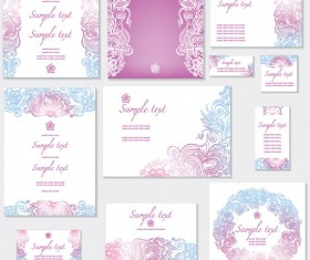 Light color Decorative pattern cards vector 01