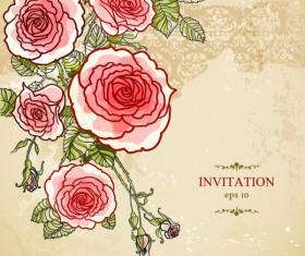 Hand painted rose vector background 02