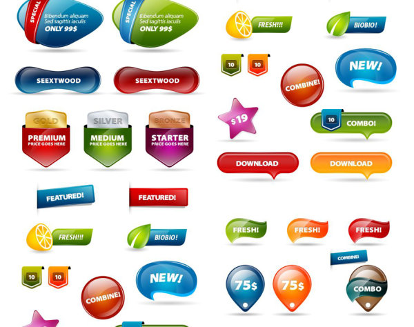 Site banner designed free PSD button