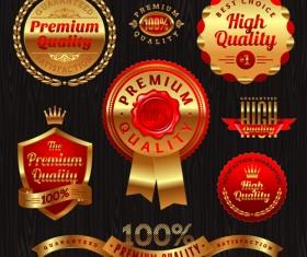 vintage Golden Labels Vector 02