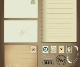 Vintage Stationery ,Stamp and Envelope free Vector 2