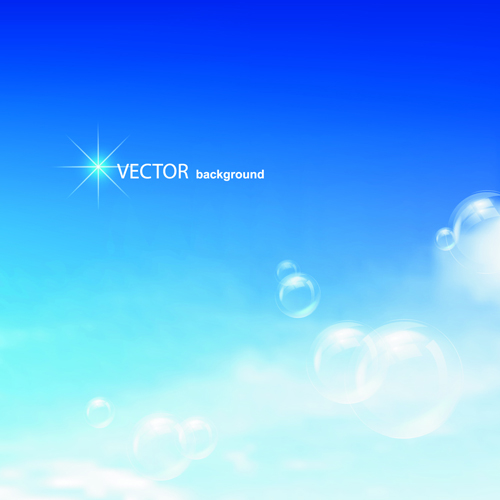 Blue Sky & white cloud background Vector 02