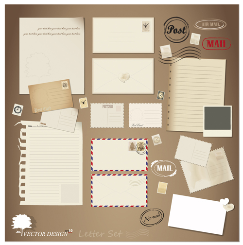 vintage stationery stamp and envelope free vector 3 free download