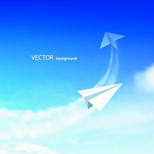 Blue Sky & white cloud background Vector 04