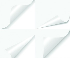 White Curled Paper Corner free vector 06