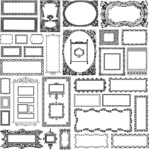 Black & white vintage Frames Mix vector free download