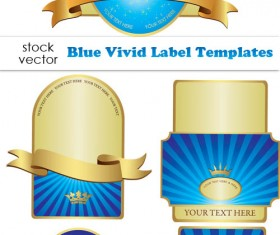 Blue Vivid Label design elements vector