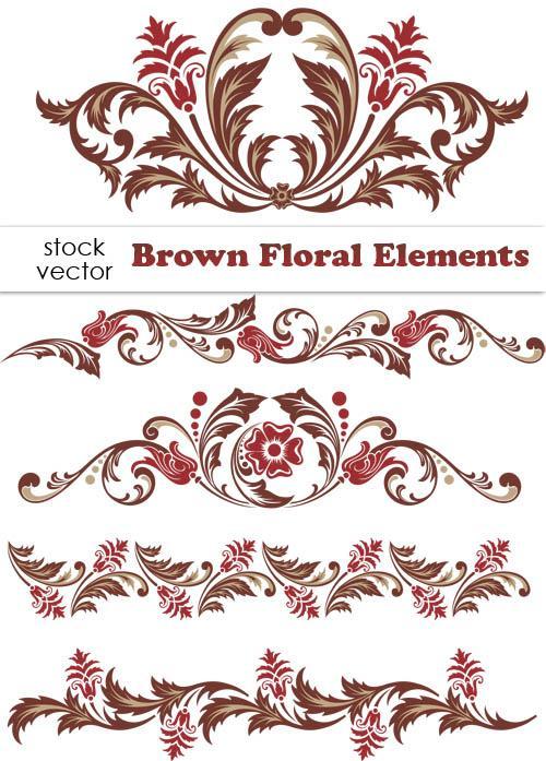 Brown Floral design Elements vector Borders