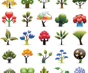 Colorful Trees Vector set