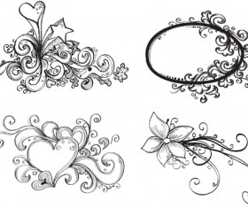 Floral Drawing Elements free vector