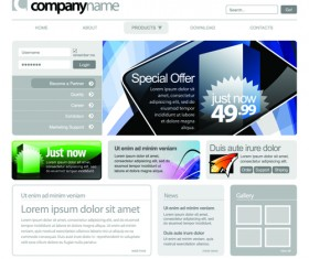 Gray Vector Website Templates design elements 03