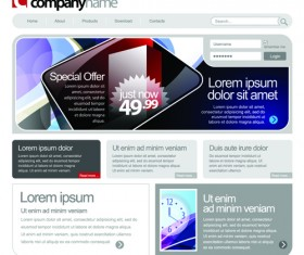 Gray Vector Website Templates design elements 04