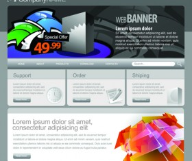 Gray Vector Website Templates design elements 05
