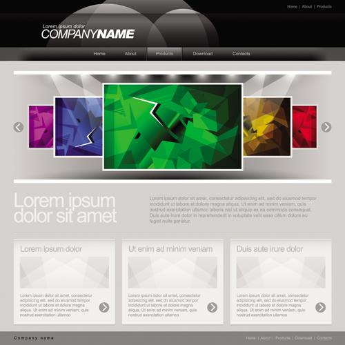 Gray Vector Website Templates design elements 01 free download