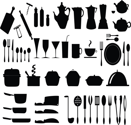 Kitchen Utensils Vector Silhouettes Free Download
