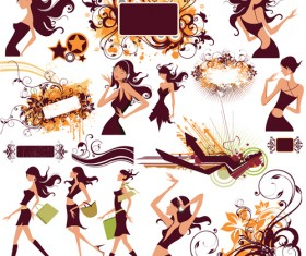 Stylish with girls free vector Collection