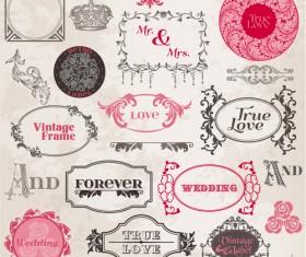 Vintage frames & lace vector 02