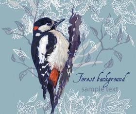 forest birds vector background 02