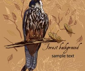 forest birds vector background 03