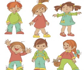 Set of cute cartoon children vector 01