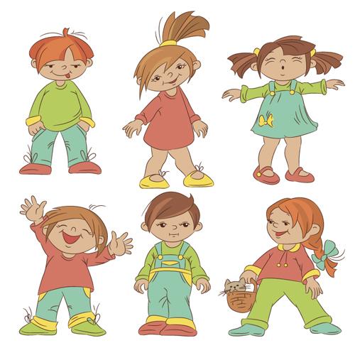 set of cute cartoon children vector 01 - Cartoon Children Images