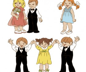 Set of cute cartoon children vector 03