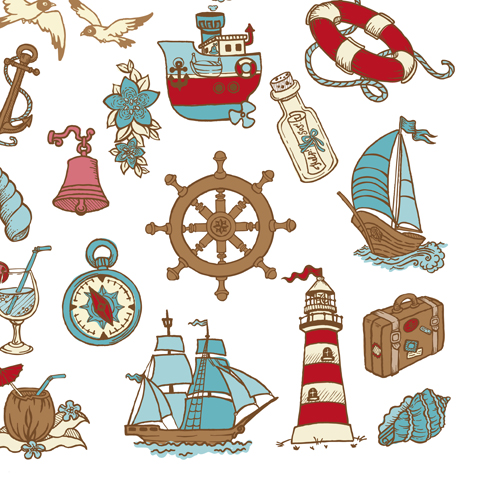 Elements of doodle sea vector icons 01