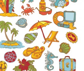 Elements of doodle sea vector icons 02