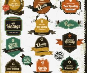 Set of Vintage badges & labels vector 01