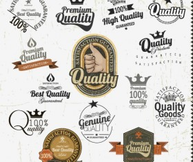 Set of Vintage badges & labels vector 04
