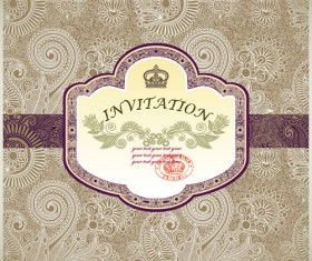vintage Floral Invitations vector 03