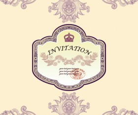 vintage Floral Invitations vector 04