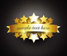 Set of gold color badges & labels vector 07
