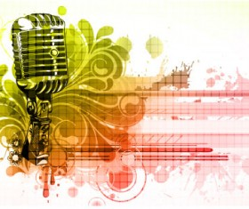 Music & mike Stylish vector background 01