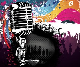 Music & mike Stylish vector background 02