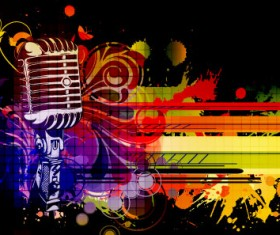 Music & mike Stylish vector background 03