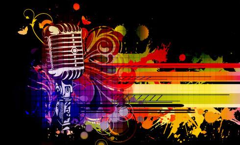 Music Amp Mike Stylish Vector Background 03 Free Download