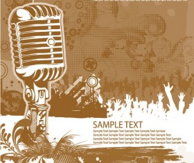 Music & mike Stylish vector background 05