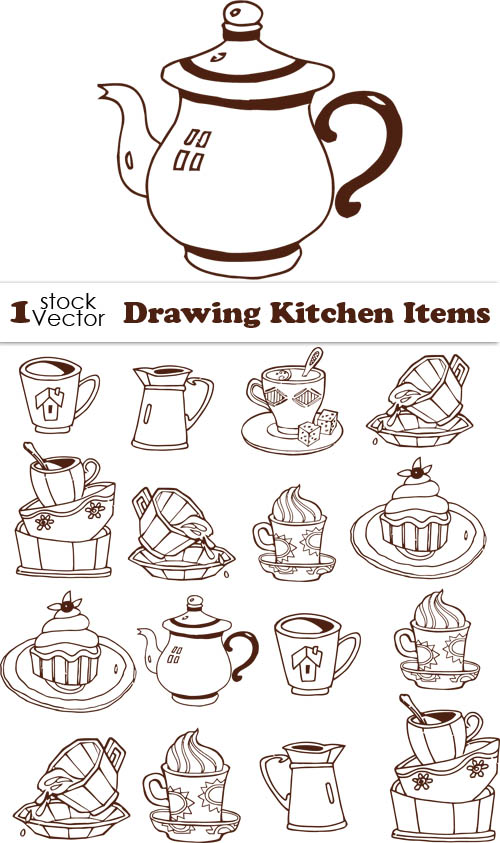 Kitchen Tableware Drawing Vector Vector Life Free Download