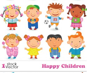 Cute Happy Children elements Vector