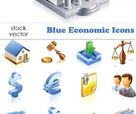 Elements of Blue Economic vector Icons