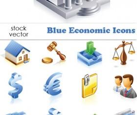 Elements of Blue Economic vector Icons