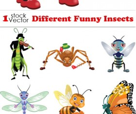 Various Funny Insects Vector set