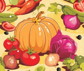 Various cartoon vegetable elements vector 02